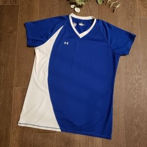 Under Armour Athletic V Neck Mesh Top Large